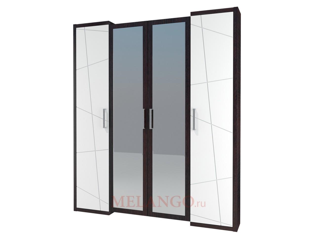 Четырехстворчатый шкаф гардероб для одежды с зеркалом Барселона МН-115-04
