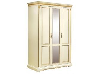 Шкаф для одежды «Милана 01» П294.01 (слоновая кость с золочением)