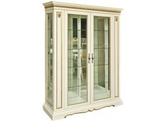 Шкаф-витрина для гостиной «Милана 5» П265.05 (слоновая кость с золочением)