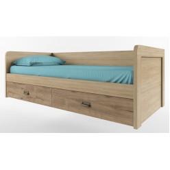 Односпальная кровать Дизель 90-2/D1 дуб веллингтон с выдвижными ящиками