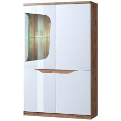 Шкаф двустворчатый с витриной 1V3D левый EVORA Дуб веллингтон, белый