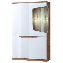 Шкаф двустворчатый с витриной 1V3D правый EVORA Дуб веллингтон, белый