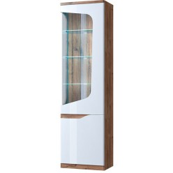 Шкаф с витриной 1V1D правый EVORA Дуб веллингтон, белый