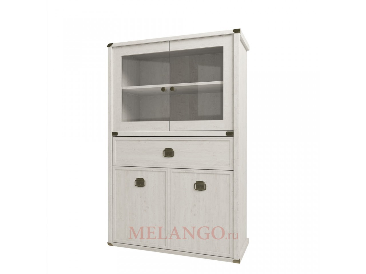Шкаф-витрина для посуды Магеллан 2V2D1SL сосна винтаж
