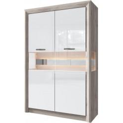 Шкаф двустворчатый с витриной 2V ORLANDO цвет каштан найроби/белый глянец