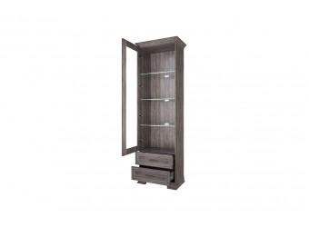 Шкаф с витриной 1V2S Тиффани - орех элия темный