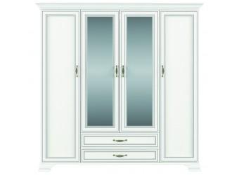 Четырехстворчатый шкаф для одежды с зеркалом Тиффани 4D2S крем вудлайн
