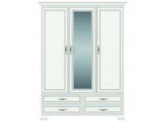 Трехстворчатый шкаф для одежды с зеркалом Тиффани 3D4S крем вудлайн