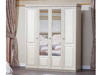 Шкаф 4-х дверный Берта (жемчуг)