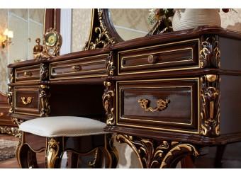 Туалетный столик с зеркалом Каролина (темный орех)