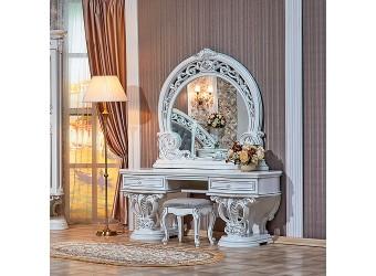 Туалетный столик с зеркалом Марелла (белый с серебром)