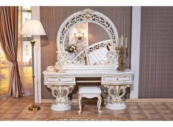 Туалетный столик с зеркалом Марелла (белый с золотом)