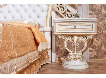 Тумба прикроватная Марелла (белый с золотом) комплект из 2 штук
