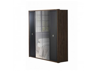 Четырехдверный распашной шкаф для одежды и белья с зеркалом в спальню Алегро ALEG-20