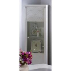 Одностворчатый шкаф витрина для посуды в гостиную Мира MIRA-02 белый