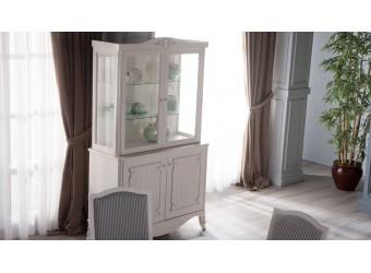 Двухстворчатый шкаф витрина для посуды в гостиную Романс RMNC-13