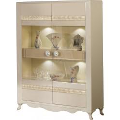 Двухстворчатый шкаф витрина для посуды с подсветкой в гостиную Седеф SEDF-13