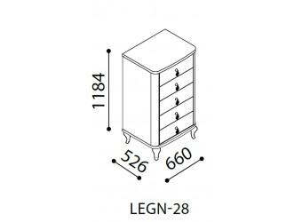 Узкий бельевой комод Легенда (Legenda) венге LEGN-28