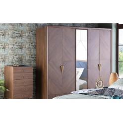 Пятидверный   шкаф для одежды с зеркалом в спальню Палма PALMA-33