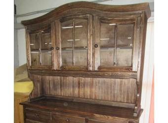 Настенный шкаф-витрина Лотос сосна Б-1077-01BRU (брашированный мокко)