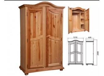 Двухстворчатый шкаф для одежды Лотос сосна (искусственное старение)