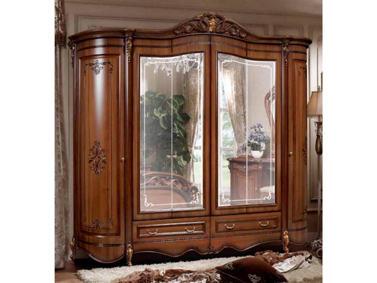 Шестистворчатый шкаф для одежды Аллегро (орех) РАСПРОДАЖА