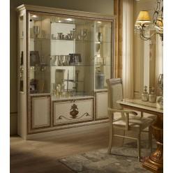 Шкаф-витрина четырехдверный Анита (бежевый глянец)