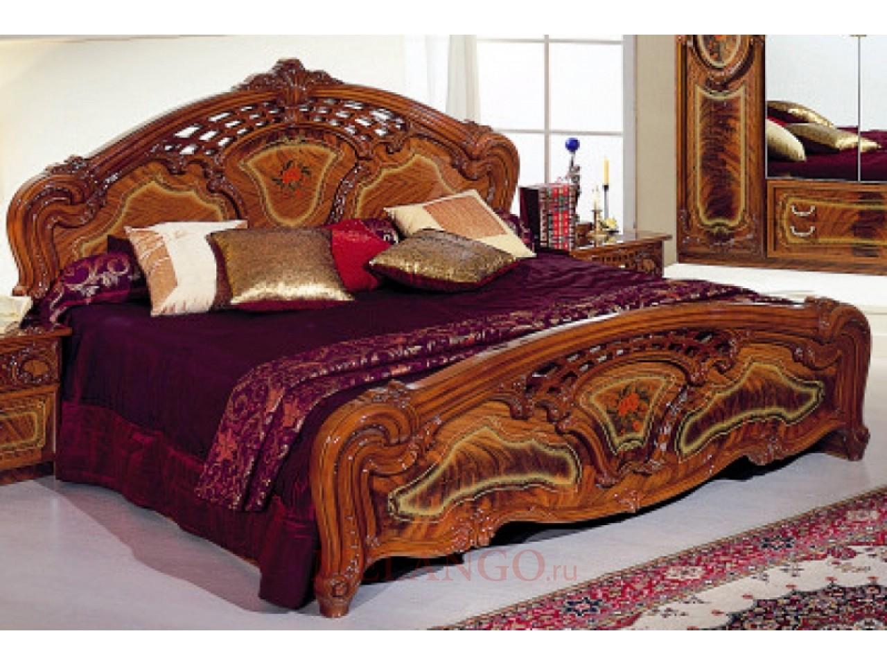 Двуспальная кровать Роза (орех)
