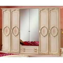 Шестистворчатый шкаф для одежды Роза (беж)
