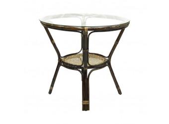 Обеденный стол Ellena Classic Rattan 11/22-A из ротанга со стеклом