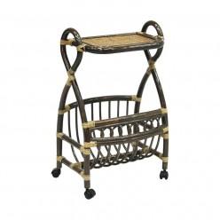 Столик с подставкой для газет Classic Rattan 17/17 из ротанга на колесиках