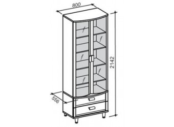 Двухстворчатый шкаф-витрина Фристайл ФР-18М