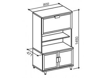 Двухстворчатый шкаф-витрина Фристайл ФР-1М