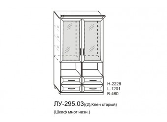 Двухстворчатый шкаф-витрина Луара ЛУ-295.03 с ящиками