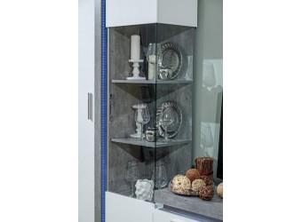 Шкаф-витрина правый Неон ЛД 667.040 Метрополитан/Белый