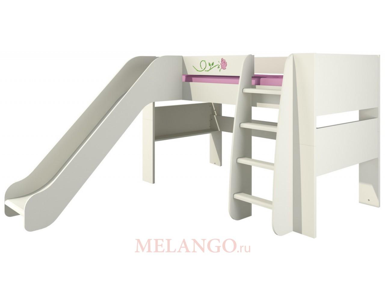 Двухъярусная детская кровать с лестницей и горкой Розалия КРД120-2Д1