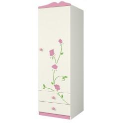 Одностворчатый детский шкаф для одежды со штангой и ящиками Розалия Ш60-1ПД1 правый