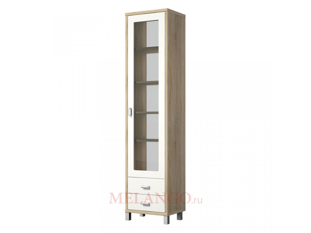 Одностворчатый шкаф витрина с ящиками в гостиную Домино Сонома ВК-04-02