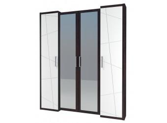 Четырехстворчатый шкаф гардероб для одежды с зеркалом Барселона МН-115-04-220