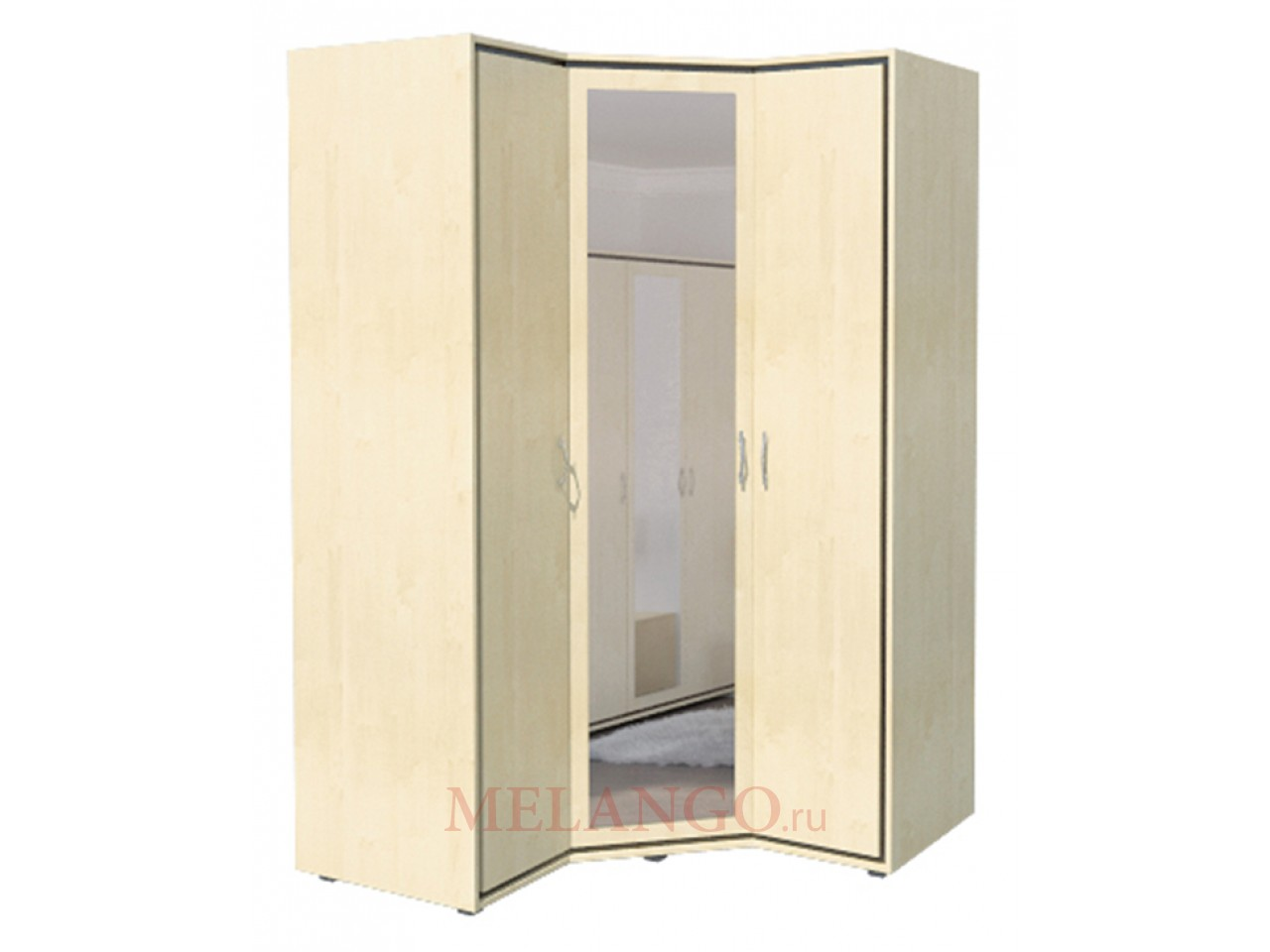 Трехстворчатый угловой шкаф для одежды с зеркалом в спальню Глория МН-210-08