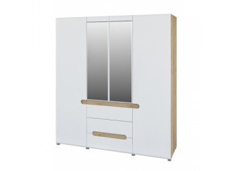 Четырехстворчатый шкаф для одежды и белья с зеркалом в спальню Леонардо МН-026-09