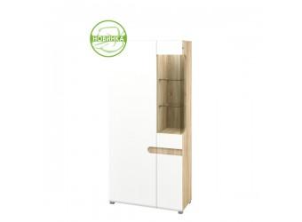 Двухстворчатый комбинированный шкаф в гостиную Леонардо МН-026-19/1 белый левый