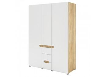 Трехстворчатый шкаф для одежды и белья с зеркалом в спальню Леонардо МН-026-08