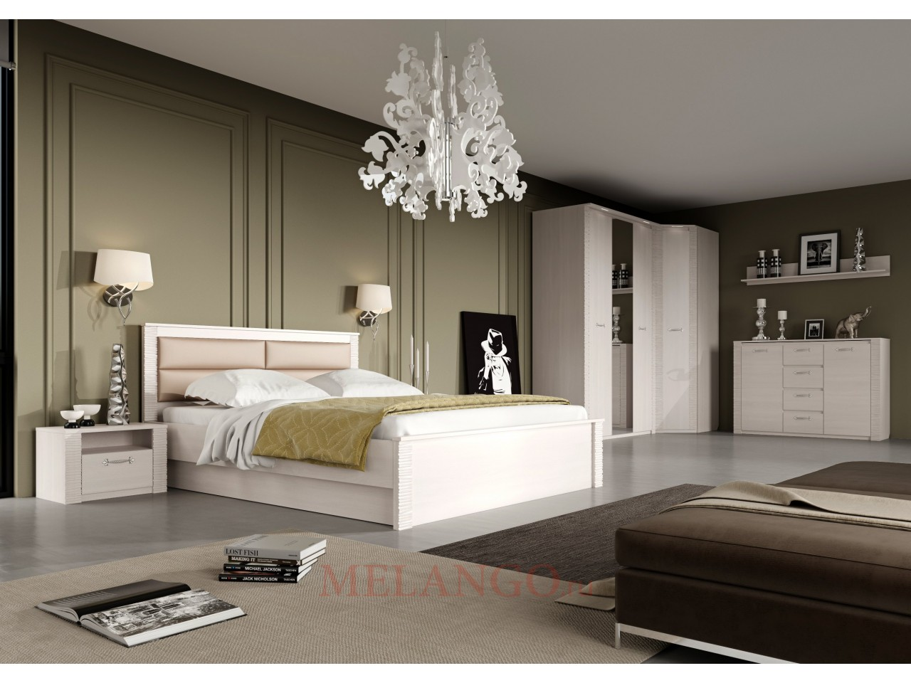 Спальня Элана от МебельГрад, цвет Бодега белая