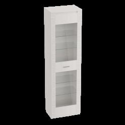 Одностворчатая витрина с ящиком для гостиной Элана, цвет Бодега белая