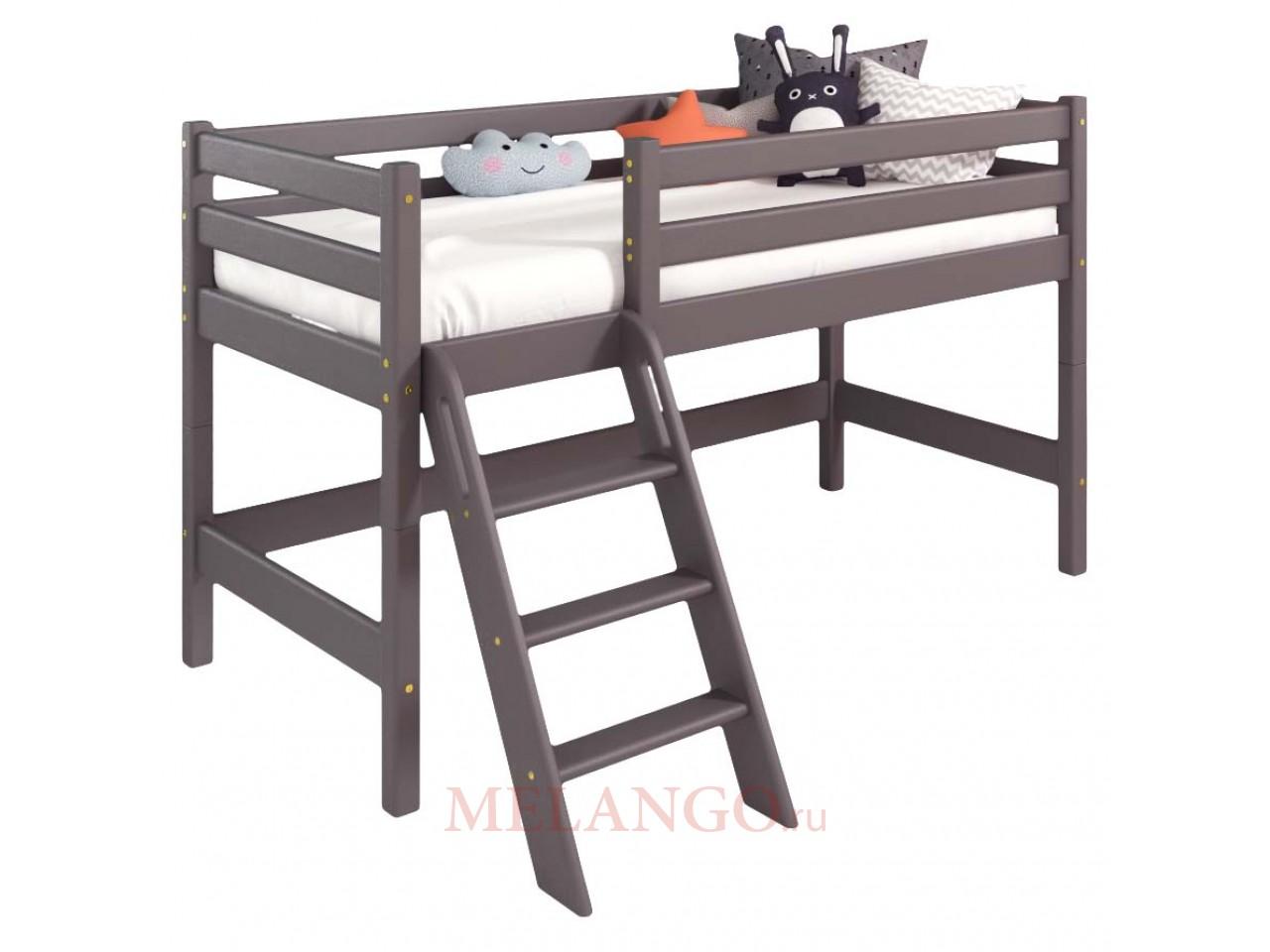 Низкая кровать Соня Лаванда с прямой лестницей вариант 12
