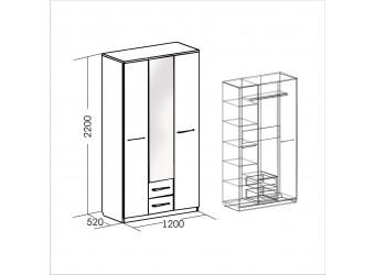 Трехстворчатый шкаф для одежды Женева 1200