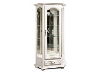 Шкаф с витриной  Давиль ММ-126-13/01П (белая эмаль)