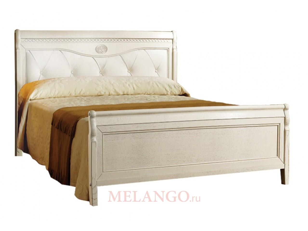Двуспальная кровать Лика ММ-137-02 (белая эмаль) с изножьем