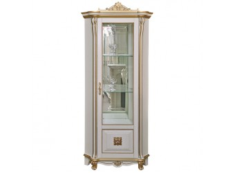 Шкаф-витрина «Алези 10 Люкс» П350.13л (слоновая кость с золочением)